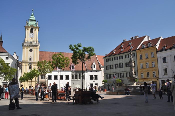 スロバキアののんびりとした街並み